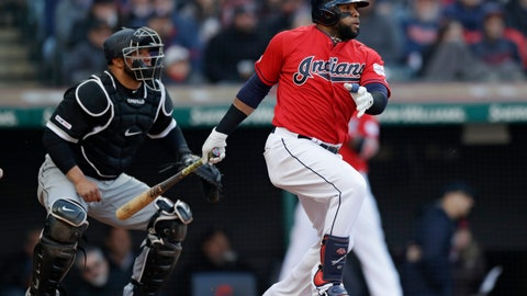 <p>               Cleveland Indians' Carlos Santana, right, watches his RBI-single off Chicago White Sox starting pitcher Ivan Nova in the sixth inning of a baseball game, Monday, April 1, 2019, in Cleveland. Jose Ramirez scored on the play. White Sox catcher Welington Castillo, left, also watches the hit. (AP Photo/Tony Dejak)             </p>