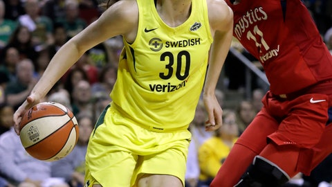 <p>               FILE - In this Sept. 7, 2018, file photo, Seattle Storm's Breanna Stewart (30) drives past Washington Mystics' Elena Delle Donne during the first half of Game 1 of the WNBA basketball finals, in Seattle. Reigning WNBA MVP Breanna Stewart is expected to miss the upcoming season after she ruptured the Achilles' tendon in her right leg. Stewart injured the leg on Sunday, April 14, 2019, in the EuroLeague Women championship game. She flew to Los Angeles where test results confirmed the injury. The Storm announced the diagnosis on Wednesday. (AP Photo/Elaine Thompson, File)             </p>