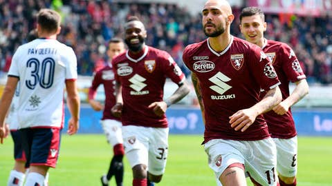 <p>               Torino's Simone Zaza, foreground right, celebrates after scoring during the Serie A soccer match between Torino and Cagliari at the Olympic Stadium in Turin, Italy, Sunday, April 14, 2019. (Alessandro Di Marco/ANSA via AP)             </p>