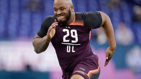 <p>               FILE - In this March 1, 2019, file photo, Mississippi State offensive lineman Elgton Jenkins runs a drill at the NFL football scouting combine in Indianapolis. Jenkins is a possible pick in the 2019 NFL Draft. (AP Photo/Michael Conroy, File)             </p>