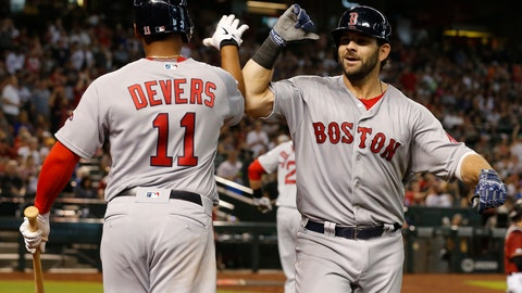 <p>               Boston Red Sox's Mitch Moreland celebrates with Rafael Devers (11) after hitting a solo home run against the Arizona Diamondbacks in the seventh inning of a baseball game, Sunday, April 7, 2019, in Phoenix. (AP Photo/Rick Scuteri)             </p>