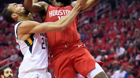 <p>               Houston Rockets guard James Harden, right, drives to the basket as Utah Jazz center Rudy Gobert defends during the first half of Game 1 of an NBA basketball first-round playoff series, Sunday, April 14, 2019, in Houston. (AP Photo/Eric Christian Smith)             </p>