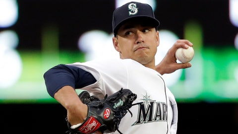 <p>               Seattle Mariners starting pitcher Marco Gonzales throws against the Texas Rangers in the first inning of a baseball game Thursday, April 25, 2019, in Seattle. (AP Photo/Elaine Thompson)             </p>