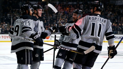 <p>               Los Angeles Kings forward Matt Roy. second from left, celebrates his goal with teammates during the second period of an NHL hockey game against Vegas Golden Knights on Saturday, April 6, 2019, in Los Angeles. (AP Photo/Ringo H.W. Chiu)             </p>