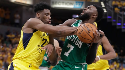 <p>               Indiana Pacers forward Thaddeus Young (21) blocks the shot of Boston Celtics guard Jaylen Brown (7) during the second half of Game 3 of an NBA basketball first-round playoff series Friday, April 19, 2019, in Indianapolis. (AP Photo/Darron Cummings)             </p>