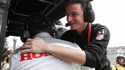 "<p>               This photo provided by IndyCar shows team owner George Steinbrenner IV hugging a Honda Performance Development employee after driver Colton Herta won the IndyCar Classic auto race in Austin, Texas on Sunday, March 24, 2019.  Instead of trying to be ""the next George Steinbrenner,"" George Steinbrenner IV is trying to be ""the next Roger Penske."" He's 22 and just became the youngest team owner to win a race in IndyCar. (Joe Skibinski/IndyCar via AP)             </p>"