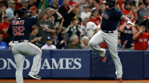 <p>               Boston Red Sox's Christian Vazquez, right, celebrates with third base coach Carlos Febles after hitting a two-run home run off Tampa Bay Rays relief pitcher Ryan Yarbrough during the fifth inning of a baseball game Friday, April 19, 2019, in St. Petersburg, Fla. (AP Photo/Chris O'Meara)             </p>