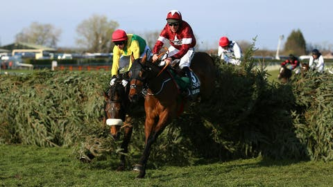 <p>               Tiger Roll ridden by jockey Davy Russell on the way to winning the Grand National Handicap Chase at the Grand National Horse Racing Festival at Aintree Racecourse, near Liverpool, England, Saturday April 6, 2019. (Nigel French/PA via AP)             </p>