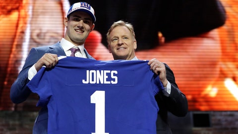 <p>               Duke quarterback Daniel Jones poses with NFL Commissioner Roger Goodell after the New York Giants selected Jones in the first round at the NFL football draft, Thursday, April 25, 2019, in Nashville, Tenn. (AP Photo/Mark Humphrey)             </p>