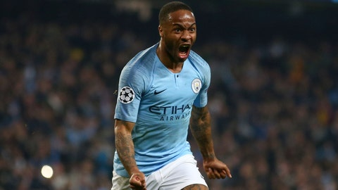 <p>               Manchester City's Raheem Sterling celebrates before his goal was disallowed for offside against Manchester City's Sergio Aguero following a VAR review during the Champions League quarterfinal, second leg, soccer match between Manchester City and Tottenham Hotspur at the Etihad Stadium in Manchester, England, Wednesday, April 17, 2019. (AP Photo/Dave Thompson)             </p>