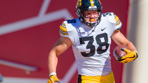 <p>               FILE - In this Oct. 13, 2018, file photo, Iowa tight end T.J. Hockenson (38) rushes the ball into the end zone to score during the second half of an NCAA college football game against Indiana, in Bloomington, Ind. Hockenson is a possible pick in the 2019 NFL Draft. (AP Photo/Doug McSchooler, File)             </p>