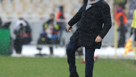 <p>               FILE - In this Dec.12, 2018 file photo, Lyon coach Bruno Genesio kicks the ball during the Group F Champions League soccer match between Shakhtar Donetsk and Lyon at the Olympiyskiy stadium, in Kiev, Ukraine. Despite a season marred by many ups and downs and the hostility of many fans, the Lyon coach Bruno Genesio had reportedly reached a deal with president Jean-Michel Aulas for a two-year contract extension.(AP Photo/Efrem Lukatsky, File)             </p>