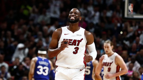 <p>               Miami Heat guard Dwyane Wade (3) reacts to missing a shot in the first half of an NBA basketball game against the Philadelphia 76ers on Tuesday, April 9, 2019, in Miami. (AP Photo/Brynn Anderson)             </p>