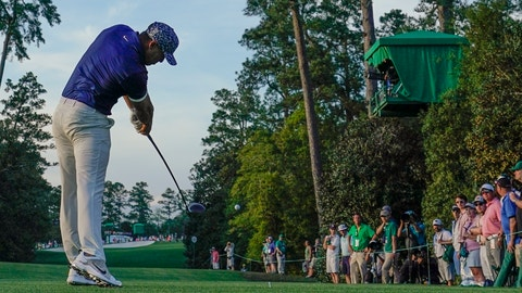 <p>               Brooks Koepka hits on the 18th tee during the first round for the Masters golf tournament Thursday, April 11, 2019, in Augusta, Ga. (AP Photo/David J. Phillip)             </p>