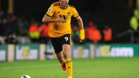<p>               Wolverhampton's Raul Jimenez runs with the ball during the English Premier League soccer match between Wolverhampton Wanderers and Manchester United at the Molineux Stadium in Wolverhampton, England, Tuesday, April 2, 2019. (AP Photo/Rui Vieira)             </p>