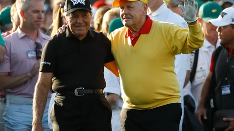 <p>               Jack Nicklaus and Gary Player acknowledge the crowd before hitting ceremonial tee shots on the first hole during the first round for the Masters golf tournament Thursday, April 11, 2019, in Augusta, Ga. (AP Photo/Matt Slocum)             </p>