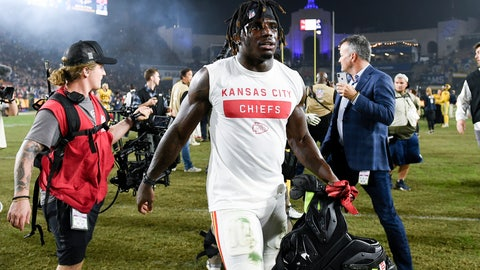 <p>               FILE - In this Nov. 19, 2018, file photo, Kansas City Chiefs wide receiver Tyreek Hill walks off the field after an NFL football game against the Los Angeles Rams, in Los Angeles. The Kansas City Chiefs have made a habit of inciting controversy during the NFL draft in the Andy Reid era by acquiring players that have a history of off-the-field issues. The team took a chance on cornerback Marcus Peters, who was traded away after getting into trouble with coaches. It drafted running back Kareem Hunt, then quickly cut him when he kicked a woman in a hotel hallway. And it picked wide receiver Tyreek Hill, who is currently dealing with a domestic violence case that centers on the 3-year-old child he shares with his fiance.(AP Photo/Kelvin Kuo, File)             </p>