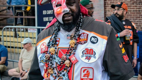 <p>               Tampa native and Buccaneer fan Jamal Sanders supports his team during the NFL Draft, Friday, April 26, 2019 in Nashville, Tenn. While it isn't unusual for fans who cheer for the same teams to bond at the NFL Draft, several super fans in Nashville for Friday's second and third rounds have enjoyed getting to know fans of teams they will be rooting against when the season kicks off in the fall. (AP Photo/Jim Diamond)             </p>