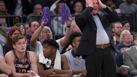 <p>               Lipscomb head coach Casey Alexander reacts during the first half of the championship basketball game in the National Invitational Tournament, Thursday, April 4, 2019, at Madison Square Garden in New York. (AP Photo/Mary Altaffer)             </p>
