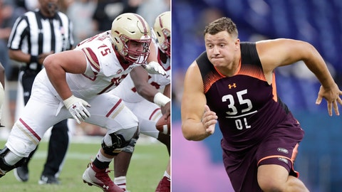 <p>               FILE - At left, in a Sept. 22, 2018, file photo, Boston College offensive lineman Chris Lindstrom (75) plays against Purdue during the second half of an NCAA college football game in West Lafayette, Ind. At right, in a March 1, 2019, file photo,  Boston College offensive lineman Chris Lindstrom runs a drill at the NFL football scouting combine in Indianapolis. Lindstrom is a possible pick in the 2019 NFL Draft. (AP Photo/Michael Conroy, File)             </p>