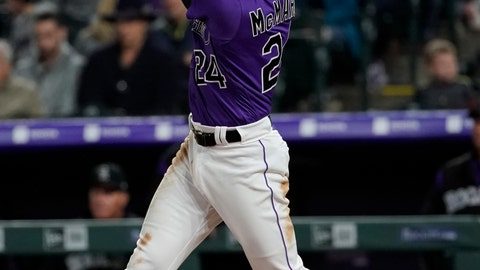 <p>               Colorado Rockies' Ryan McMahon watches his three-run home run off Philadelphia Phillies starting pitcher Zach Eflin during the sixth inning of a baseball game Thursday, April 18, 2019, in Denver. (AP Photo/Jack Dempsey)             </p>