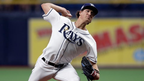 <p>               Tampa Bay Rays starting pitcher Tyler Glasnow delivers to a Baltimore Orioles batter during the first inning of a baseball game Tuesday, April 16, 2019, in St. Petersburg, Fla. (AP Photo/Chris O'Meara)             </p>
