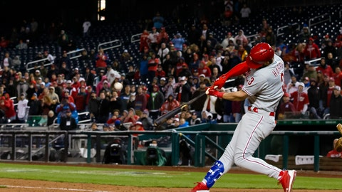 <p>               Philadelphia Phillies' Bryce Harper hits a two-run homer during the eighth inning of a baseball game against the Washington Nationals at Nationals Park, Tuesday, April 2, 2019, in Washington. The Phillies won 8-2. (AP Photo/Alex Brandon)             </p>