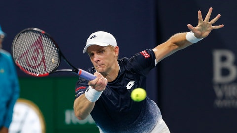<p>               FILE - In this March 28, 2019, file photo, Kevin Anderson, of South Africa, hits a forehand to Roger Federer, of Switzerland, during a quarterfinal match at the Miami Open tennis tournament, in Miami Gardens, Fla. Two-time Grand Slam runner-up Kevin Anderson is skipping the clay-court swing this season because of a lingering right elbow injury. Anderson announced Tuesday, April 23, 2019, via a post on Twitter that he is withdrawing from the French Open, as well as tuneup tournaments in Estoril, Madrid and Rome. (AP Photo/Joe Skipper, File)             </p>