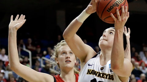 <p>               FILE - In this March 30, 2019, file photo, Iowa's Megan Gustafson (10) shoots against North Carolina State's Elissa Cunane (33) during the second half of a regional women's college basketball game in the NCAA Tournament in Greensboro, N.C. Gustafson of Iowa has won the Honda Sports Award as the top woman in college basketball. Gustafson led Division I women's basketball with an average of 28 points this season.  (AP Photo/Gerry Broome, File)             </p>