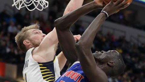 <p>               Detroit Pistons' Thon Maker (7) is fouled by Indiana Pacers' Domantas Sabonis (11) as he goes up for a shot during the first half of an NBA basketball game, Monday, April 1, 2019, in Indianapolis. (AP Photo/Darron Cummings)             </p>