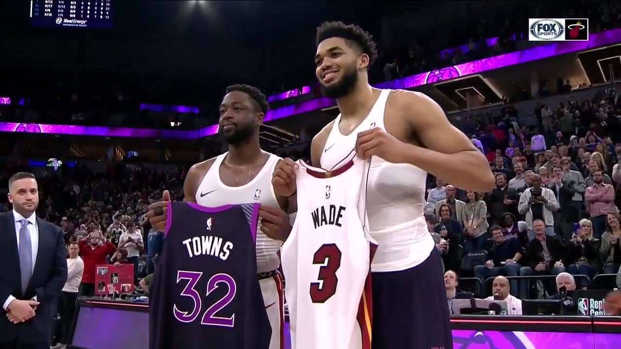 timeless design fde5a 3852a One Last Dance: Dwyane Wade, Karl-Anthony Towns swap jerseys in Minnesota