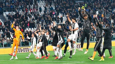 <p>               Juventus celebrate their victory at the end of the Italian Serie A soccer match between Juventus and AC Milan at the Allianz Stadium in Turin, Italy, Saturday, April 6, 2019.  (Andrea Di Marco/ANSA via AP)             </p>