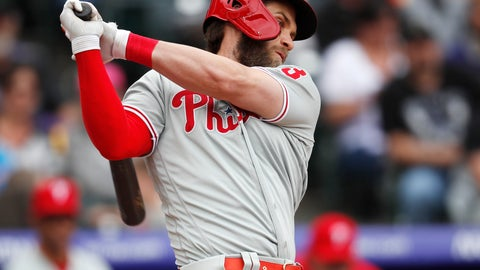 <p>               Philadelphia Phillies' Bryce Harper strikes out against Colorado Rockies starting pitcher Jon Gray in the fourth inning of a baseball game Sunday, April 21, 2019, in Denver. (AP Photo/David Zalubowski)             </p>
