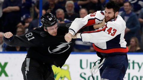 <p>               Washington Capitals right wing Tom Wilson (43) and Tampa Bay Lightning defenseman Erik Cernak (81) fight during the third period of an NHL hockey game Saturday, March 30, 2019, in Tampa, Fla. (AP Photo/Chris O'Meara)             </p>
