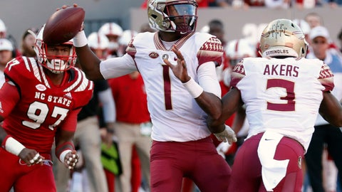 <p>               FILE - In this Nov. 3, 2018, file photo. Florida State's James Blackman (1) looks to pass during the first half of the team's NCAA college football game against North Carolina State in Raleigh, N.C. Florida State coach Willie Taggart's top _ and perhaps only _ option at quarterback is redshirt sophomore James Blackman, the full-time starter in 2017 when Francois missed virtually the entire season with a ruptured patellar tendon(AP Photo/Chris Seward, File)             </p>
