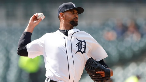 <p>               Detroit Tigers starting pitcher Tyson Ross throws during the first inning of a baseball game against the Kansas City Royals, Sunday, April 7, 2019, in Detroit. (AP Photo/Carlos Osorio)             </p>