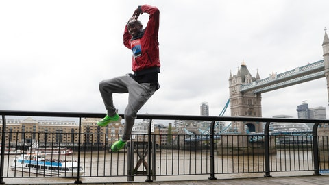 <p>               Britain's Mo Farah leaps as he poses for the media during a photo call for the London Marathon in London, Wednesday, April 24, 2019. Farah will take part in the 39th London Marathon which takes place Sunday April 28. (AP Photo/Alastair Grant)             </p>