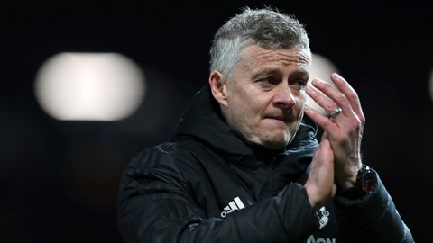 <p>               Manchester United coach Ole Gunnar Solskjaer applauds after the Champions League quarterfinal, first leg, soccer match between Manchester United and FC Barcelona at Old Trafford stadium in Manchester, England, Wednesday, April 10, 2019. Barcelona won 1-0. (AP Photo/Jon Super)             </p>