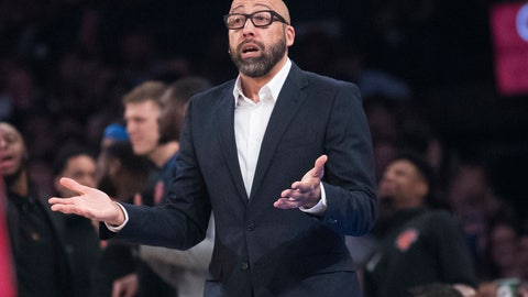<p>               New York Knicks coach David Fizdale gestures during the first half of the team's NBA basketball game against the Detroit Pistons, Wednesday, April 10, 2019, at Madison Square Garden in New York. (AP Photo/Mary Altaffer)             </p>