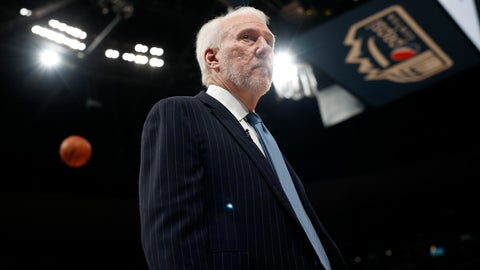 <p>               San Antonio Spurs head coach Gregg Popovich prepares for Game 5 of an NBA basketball first round playoff series against the Denver Nuggets, Tuesday, April 23, 2019, in Denver. (AP Photo/David Zalubowski)             </p>