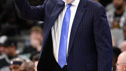 <p>               San Antonio Spurs head coach Gregg Popovich signals to his players during the first half of an NBA basketball game against the Atlanta Hawks, Tuesday, April 2, 2019, in San Antonio. San Antonio won 117-111. (AP Photo/Darren Abate)             </p>