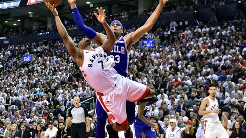 <p>               Toronto Raptors guard Kyle Lowry (7) draws a foul on Philadelphia 76ers forward Tobias Harris (33) as he drives to the net during second-half, second-round NBA basketball playoff action in Toronto, Monday, April 29, 2019. (Frank Gunn/The Canadian Press via AP)             </p>