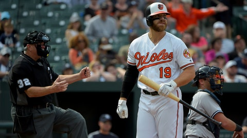 <p>               Baltimore Orioles first baseman Chris Davis (19) reacts after striking out in the seventh inning of a baseball game against the New York Yankees, Sunday, April 7, 2019, in Baltimore. (AP Photo/Will Newton)             </p>