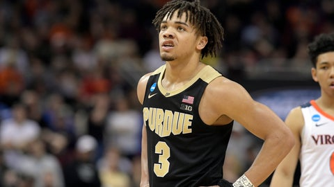 <p>               Purdue's Carsen Edwards looks up at the scoreboard during overtime of the men's NCAA Tournament college basketball South Regional final game against Virginia, Saturday against Virginia, March 30, 2019, in Louisville, Ky. Virginia won 80-75. (AP Photo/Timothy D. Easley)             </p>