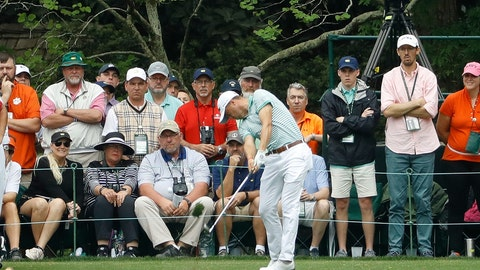 <p>               Justin Thomas hits a hole in one on the 16th hole during the final round for the Masters golf tournament Sunday, April 14, 2019, in Augusta, Ga. (AP Photo/Matt Slocum)             </p>