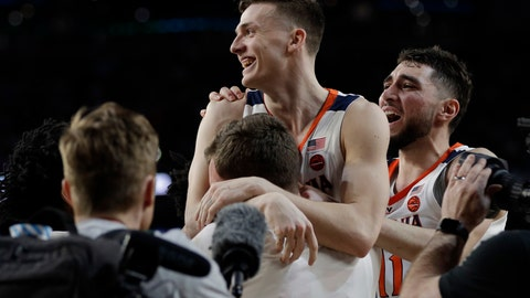 <p>               Virginia's Kyle Guy celebrates after defeating Auburn 63-62 in the semifinals of the Final Four NCAA college basketball tournament, Saturday, April 6, 2019, in Minneapolis. (AP Photo/David J. Phillip)             </p>