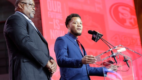 <p>               DeMarcus Cobb, son of former NFL player and scout Reggie Cobb, announces the pick by the San Francisco 49ers of South Carolina wide reciever Deebo Samuel during the the second round of the NFL football draft, Friday, April 26, 2019, in Nashville, Tenn. (AP Photo/Mark Humphrey)             </p>