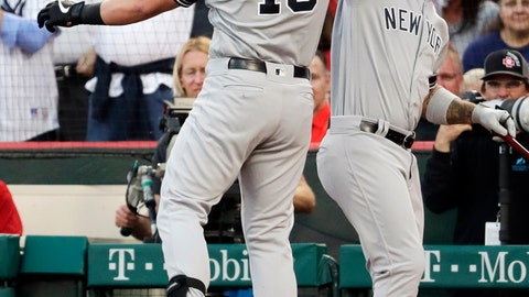 <p>               New York Yankees' Luke Voit, left, celebrates after his home run with Gleyber Torres during the first inning of a baseball game against the Los Angeles Angels in Anaheim, Calif., Tuesday, April 23, 2019. (AP Photo/Chris Carlson)             </p>