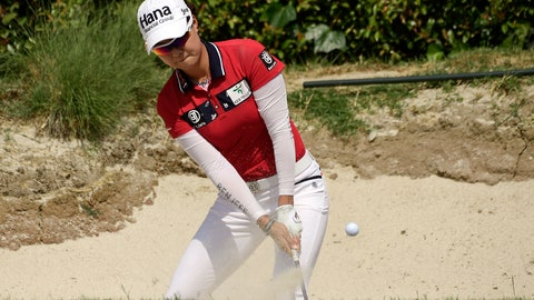 <p>               Minjee Lee, of Australia, hits out of the bunker on the seventh during the third round of the Hugel-Air Premia LA Open golf tournament at Wilshire Country Club, Saturday, April 27, 2019, in Los Angeles. (AP Photo/Mark J. Terrill)             </p>