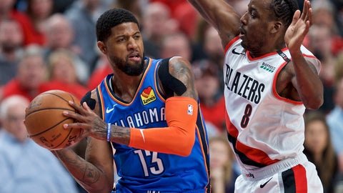 <p>               Oklahoma City Thunder forward Paul George, left, looks to pass the ball around Portland Trail Blazers forward Al-Farouq Aminu during the first half of Game 2 of an NBA basketball first-round playoff series Tuesday, April 16, 2019, in Portland, Ore. (AP Photo/Craig Mitchelldyer)             </p>